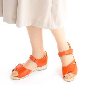 上質な天然皮革使用 女性用サンダル アサヒメディカルウォークSL レディース 婦人靴 足に優しいSHM機能搭載 レディース (オレンジ)