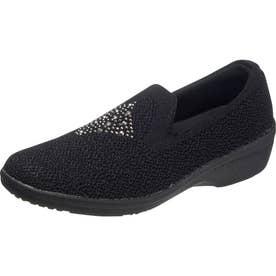 女性用スリッポンスニーカー アサヒL516 婦人靴 レディース (ブラック)