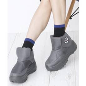 6.5cmヒール 厚底 スニーカー ブーツ (グレー)