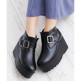 8cm 厚底 ウェッジヒール ショートブーツ (ブラックスムース)