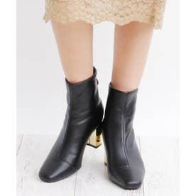 6.5cm ミラーヒール バックジッパー ブーツ (ブラックスムース)