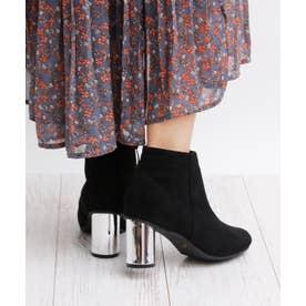 8cm ミラーヒール ショートブーツ (ブラックスエード)