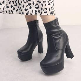 8cm ミラーヒール ショートブーツ (ブラックスムース)