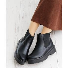 厚底 ソール サイドゴア ブーツ (ブラックスムース)