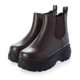 6cm 厚底 ソール サイドゴア ブーツ (ダークブラウンスムース)