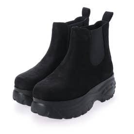 6cm 厚底 ソール サイドゴア ブーツ (ブラックスエード)