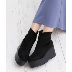 8cm 厚底 ウェッジヒール ショートブーツ (ブラックスエード)