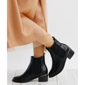 5cm ブロックヒール サイドゴア ショートブーツ (ブラック型押し)