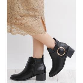 5cm ブロックヒール バックルデザイン ショートブーツ (ブラックスムース)
