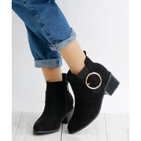 5cm ブロックヒール バックルデザイン ショートブーツ (ブラックスエード)