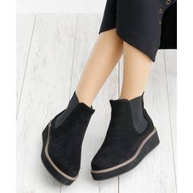 4cm 厚底 ウェッジヒール サイドゴア ショートブーツ (ブラックスエード)