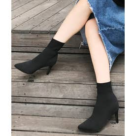 8cmハイヒール ニットショートブーツ (ブラック)