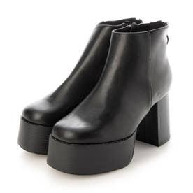 9cmチャンキーヒール ジッパーデザイン ショートブーツ (ブラックスムース)