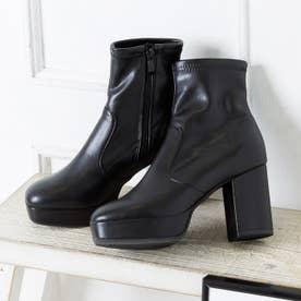 9cmハイヒール スクエアトゥ ストレッチ ショートブーツ (ブラックスムース)