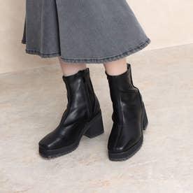 8cmヒール スクエアトゥストレッチショートブーツ (ブラックスムース)