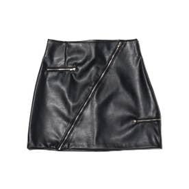 レザー ジップ スカート (BLACK)