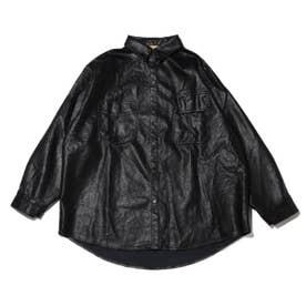 フェイクレザー 羽織 シャツ (BLACK)