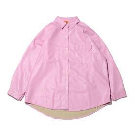 フェイクレザー 羽織 シャツ (PINK)