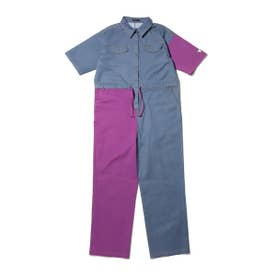 RIEHATA × color blocking jump suit (PURPLE)
