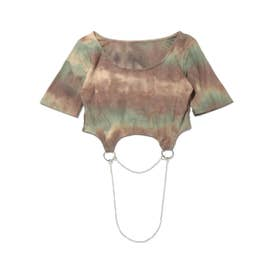 RIEHATA × tie dye chain cropped tops (BROWN)