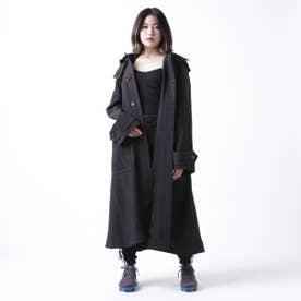 配色ステッチ ロングコート (BLACK)