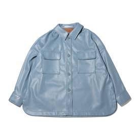 フェイクレザー CPO シャツ (BLUE)