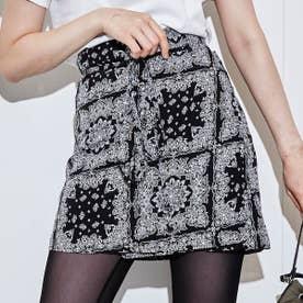 ペイズリー柄 巻きスカート (BLACK)