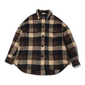 チェック柄ビックネルシャツ (BROWN)