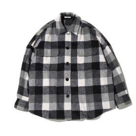 チェック柄ビックネルシャツ (GRAY)