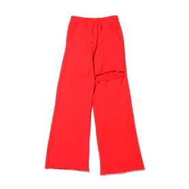 カッティングスウェットワイドパンツ (RED)