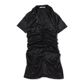 襟付きサテンシャーリングOP (BLACK)