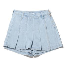 フロントプリーツスカート風パンツ (BLUE)