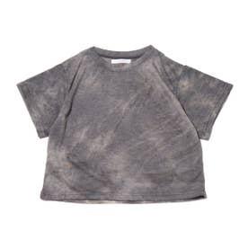 タイダイ柄ミニ丈Tシャツ (BLACK)