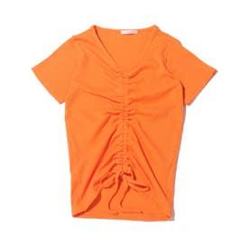 前絞りリブTシャツ (ORANGE)
