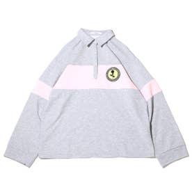 ワッペン付き配色ラガーシャツ (GRAY)