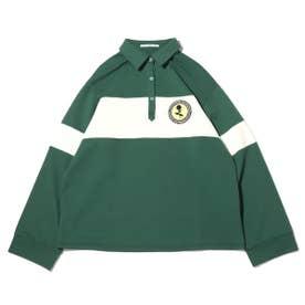 ワッペン付き配色ラガーシャツ (GREEN)