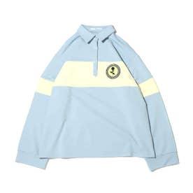 ワッペン付き配色ラガーシャツ (SAX)