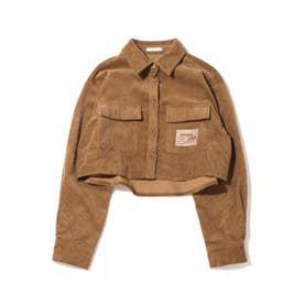 コーデュロイショートシャツ (BROWN)