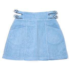 コーデュロイサイドベルトミニスカート (BLUE)