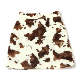 COW柄ファー台形ミニスカート (WHITE)