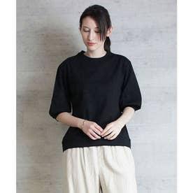 ボリューム袖ショート丈カットソー (BLACK)