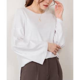 ボリューム袖コットンフライス長袖Tシャツ (WHITE)