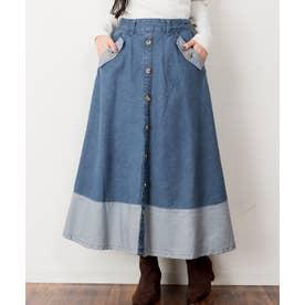 デニムフロントボタンフレアスカート (BLUE)