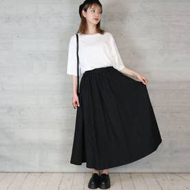 ツイルマキシギャザースカート (BLACK)