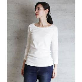 Uネック8分袖コットンフライスTシャツ (WHITE)