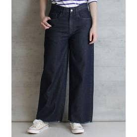 デニム裾フリンジワイドパンツ (ONEW-NAVY)