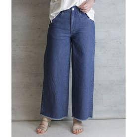 デニム裾フリンジワイドパンツ (BLUE)