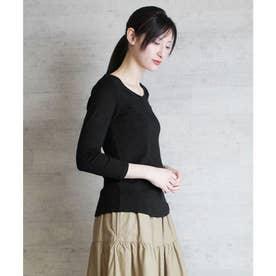 Vネック8分袖コットンフライスTシャツ (BLACK)
