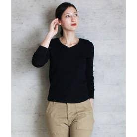 ワッフルVネック長袖Tシャツ (BLACK)
