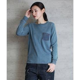 リアルデニムポケットインディゴ染め長袖Tシャツ (INDIGO-BUL)
